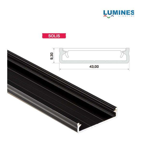 Led profil led szalagokhoz Széles Fekete 2 méteres alumínium