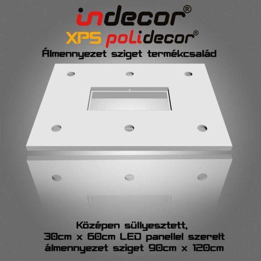 Indecor® T-120x90-LP-F Téglalap álmennyezet sziget