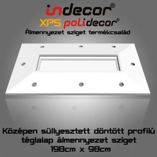 Indecor® T-200x100-D Téglalap döntött frontú süllyesztett közepű álmennyezet sziget