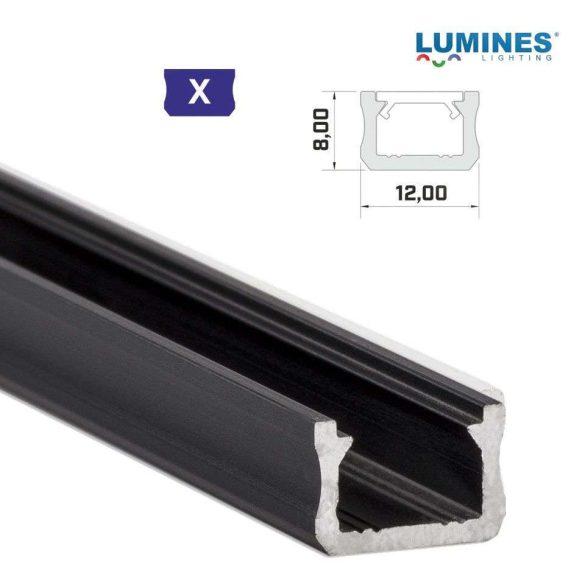Led profil led szalagokhoz Keskeny fekete 1 méteres alumínium