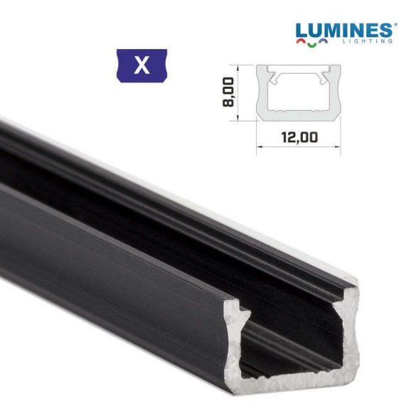 Led profil led szalagokhoz Keskeny fekete 2 méteres alumínium