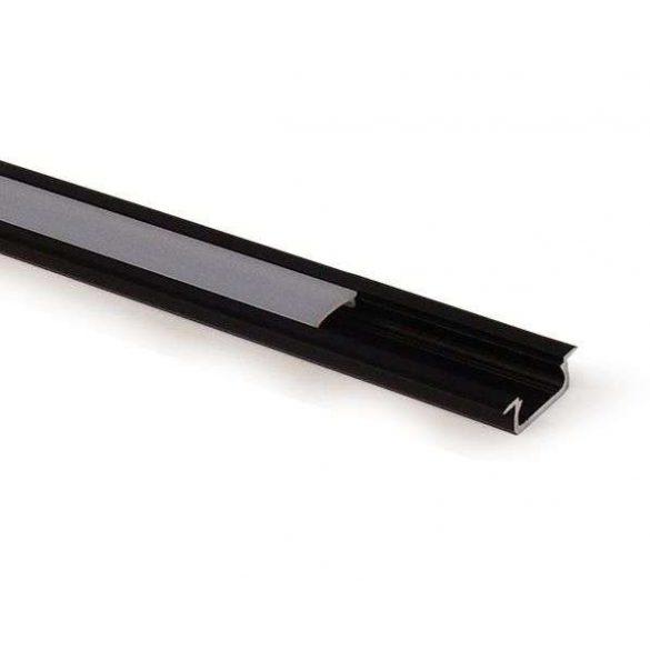 Led profil led szalagokhoz, beépíthető, fekete, 1 méteres, alumínium