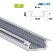 Led profil led szalagokhoz Beépíthető natúr 2 méteres alumínium