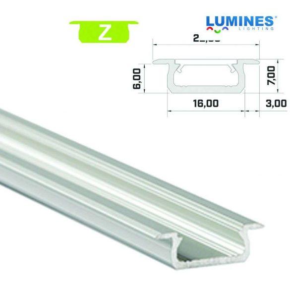 Led profil led szalagokhoz, beépíthető, ezüst, 2 méteres, alumínium