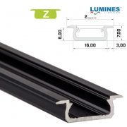 Led profil led szalagokhoz Beépíthető fekete 2 méteres alumínium