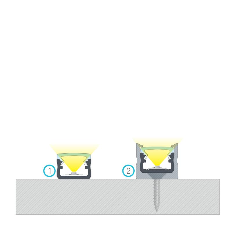 Összeállított szerelések, (1) kétoldalas ragasztószalaggal, (2) Magas rögzítő klipsszel,