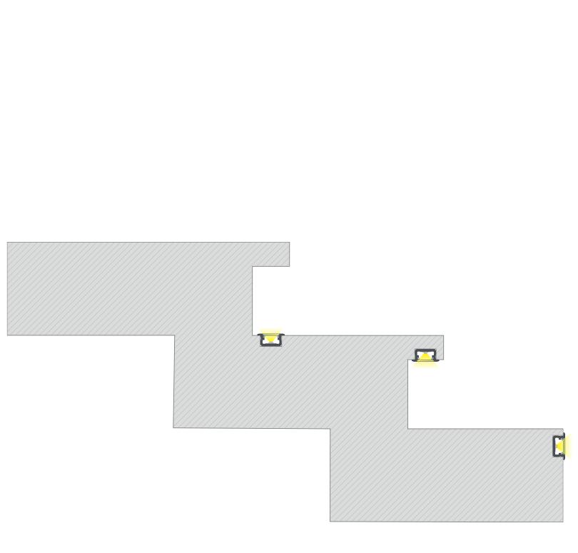 A G profil lépcsőbe süllyesztve