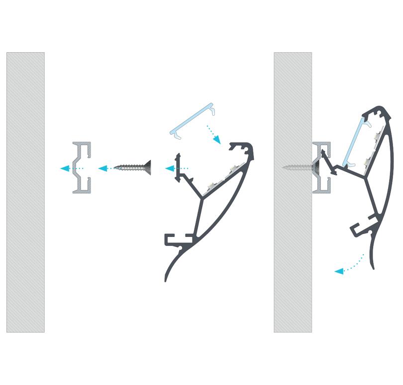 A CONVA profil összeszerelése SPARO rögzítőprofil segítségével