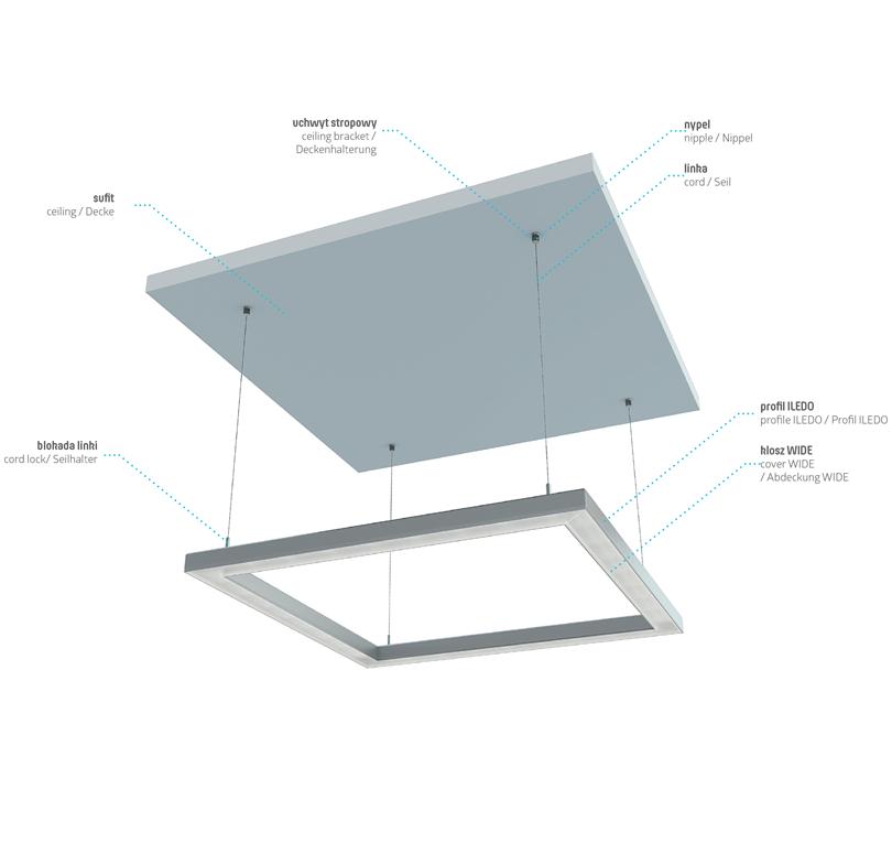 Az ILEDO profil függesztett lámpatestként