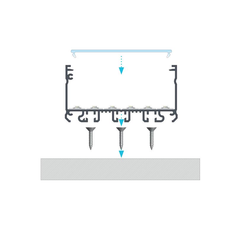 Beszerelési javaslat, 6 sornyi led szalag és SUPERWIDE takaróprofil a LARGO profilon