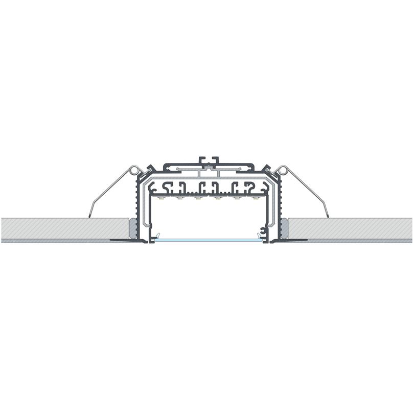 LARGO profilrendszerből készült beépített lámpatest