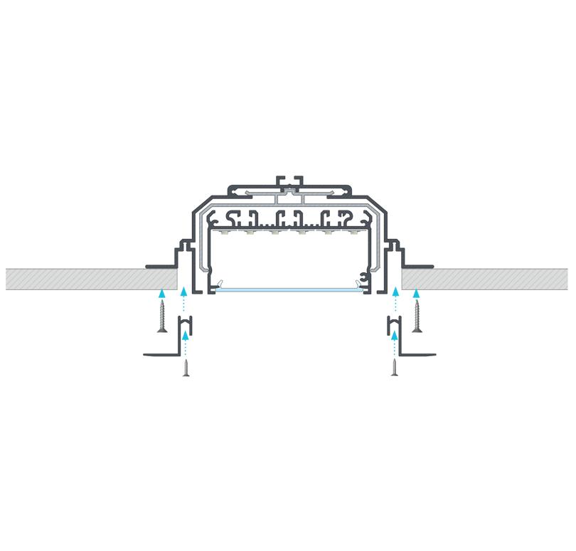LARGO profilrendszerből készült beépített lámpatest robbantott ábra