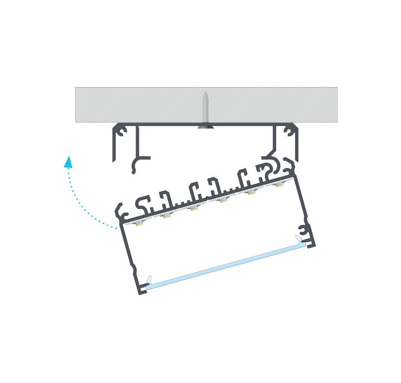 Beszerelési javaslat, 6 sornyi led szalag és SUPERWIDE takaróprofil a LARGO profilon, LARGO M1 tartóprofillal