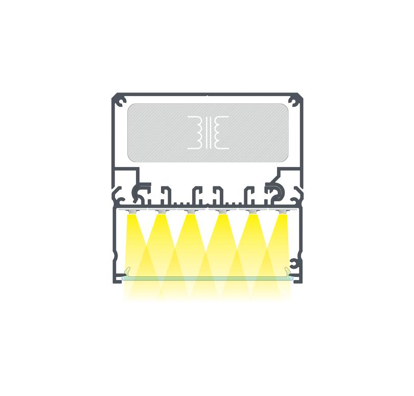 Összeállított Lámpatest LARGO profilból LARGO M2 tartóprofillal