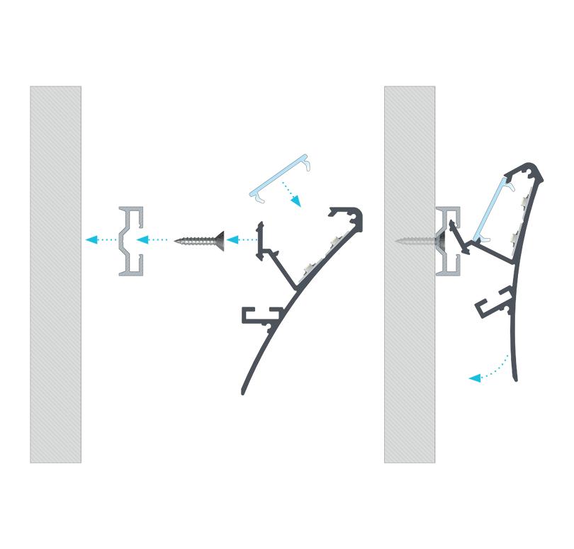A LOGI profil összeszerelése SPARO rögzítőprofil segítségével