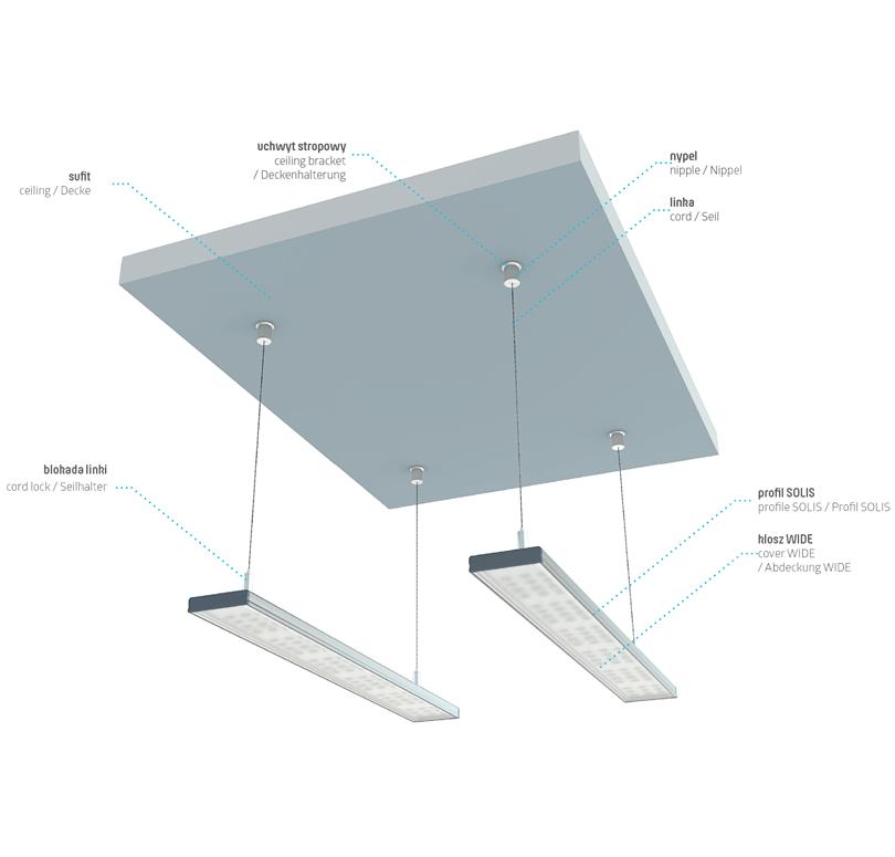 Az SOLIS profil függesztett lámpatestként