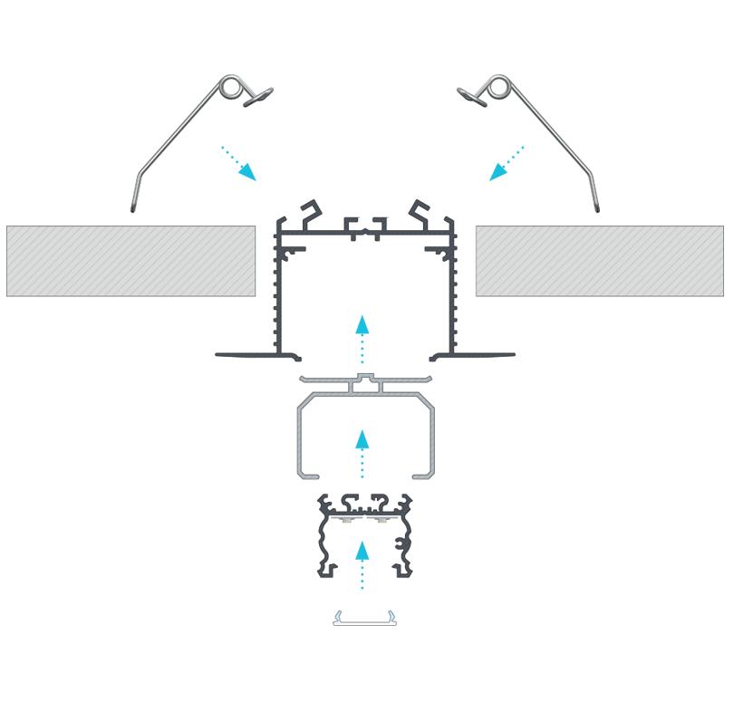 TALIA profil összeszerelésére a TALIA M3 rögzítőprofil segítségével a mennyezetbe