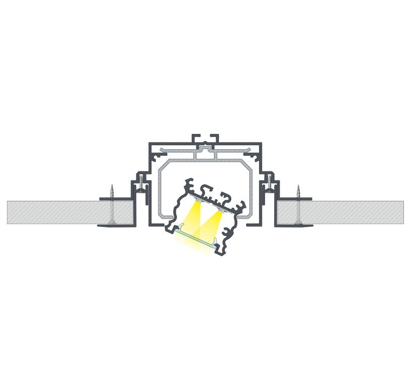 A profilközi TALIA csatlakozó használatának végeredménye a TALIA profil dőlésszögének megváltoztatása céljából, ha TALIA M4 rögzítőprofillal használjuk