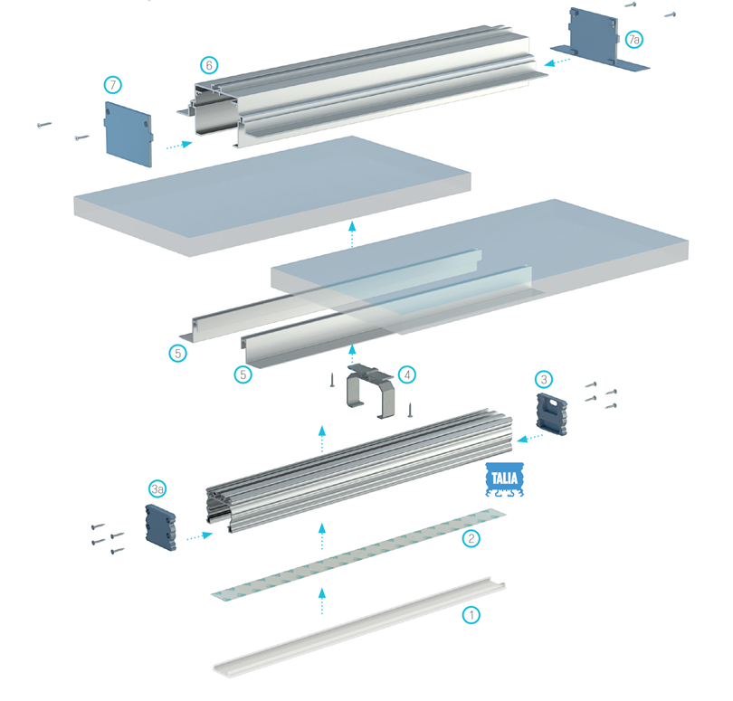 Mennyezeti világítási rendszer elemei a TALIA M4 profil használatával