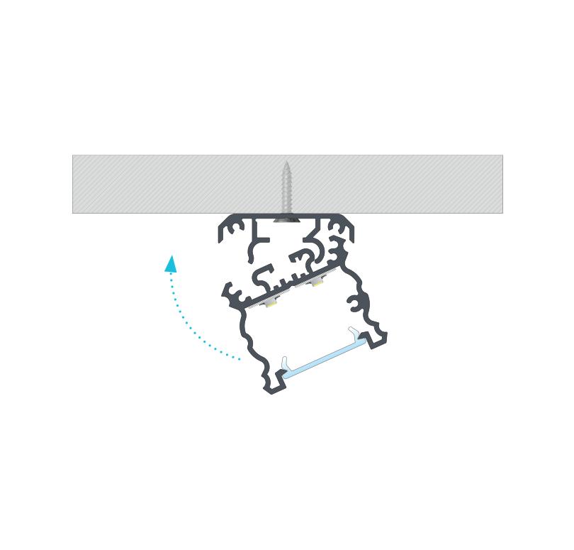 A TALIA profil felszerelése rögzítőcsavarral és a TALIA M1 rögzítő profil segítségével