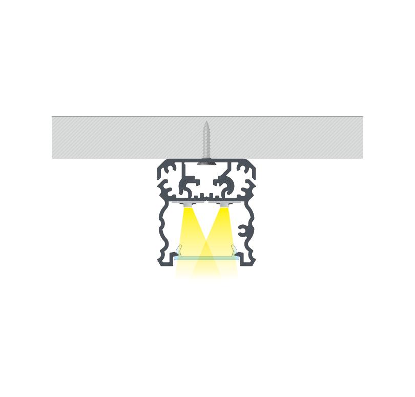 Összeállított szerelések, A TALIA profil felszerelése rögzítőcsavarral és a TALIA M1 rögzítő profil segítségével
