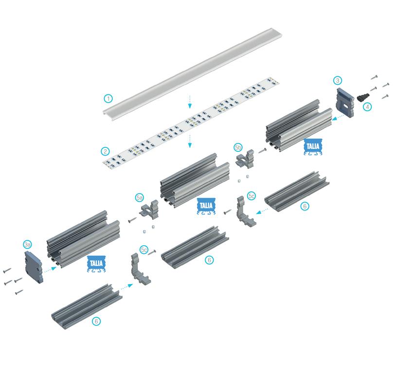 A TALIA profilú világítási rendszer elemeinek összeszerelési sémája
