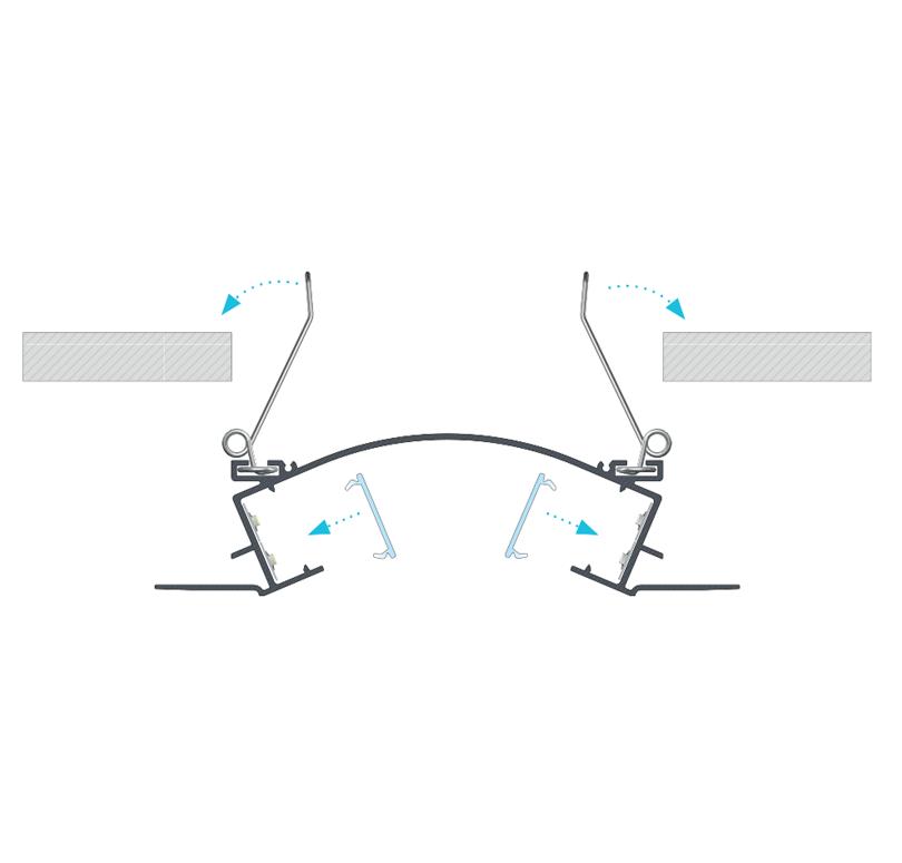A VEDA profil összeszerelése rögzítő rugók segítségével